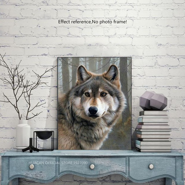 HUACAN 5D DIY Diamond Painting Wolf Diamond Mosaic Picture Of Rhinestones Diamond Embroidery Cross Stitch Animal