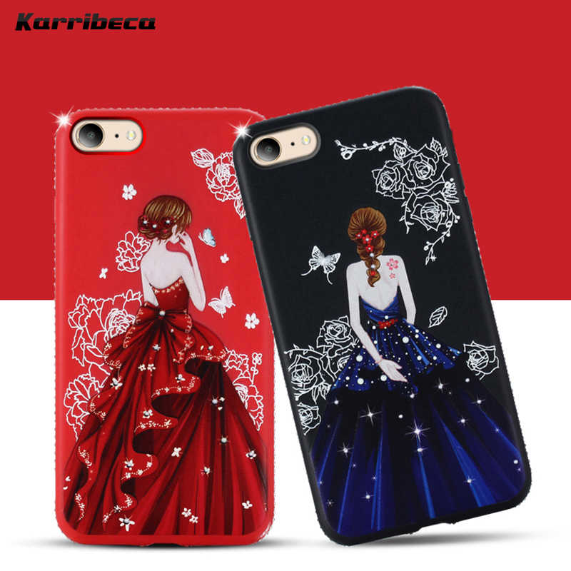Goddess girl dress silicone case for iphone 6s funda coque diamond  rhinestone tpu cover for iphone d765cbedb3a