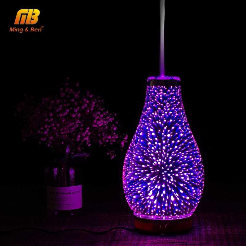 ليلة ضوء ضباب بالموجات فوق الصوتية البخاخ الروائح الهواء المرطب ثلاثية الأبعاد الملونة LED الألعاب النارية ناشر رائحة