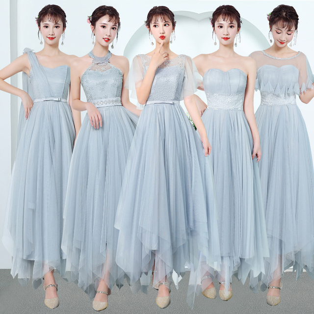 Sweet Memory Good Quality Champagne Pink Gray Bridesmaid Dresses 2018 Graduation Sisters Group Wedding Party Dress
