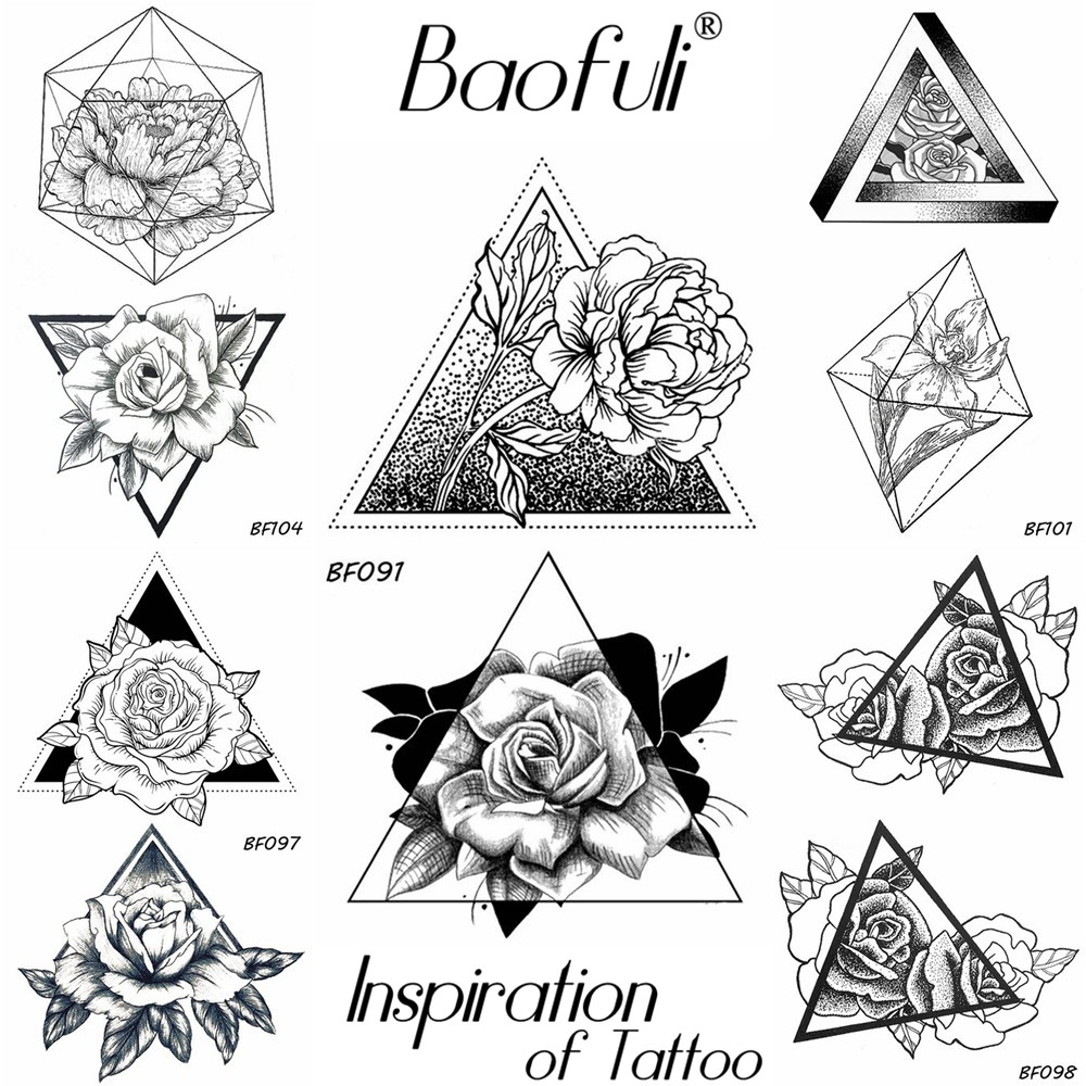 Baofuli Sketch Rose Triangle Flower Tattoos Geometric Black Drawing Girl Tatoo Waterproof Temporary Body Arm Art Tattoo Stickers