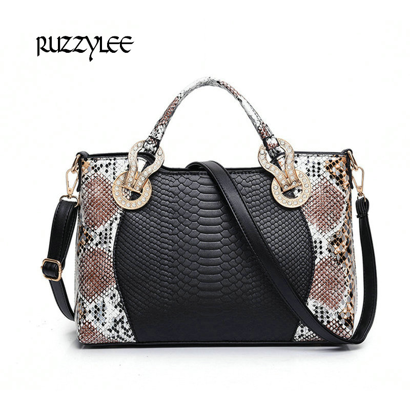 ФОТО  Ruzzylee Women Shoulder bag Luxury Women's Leather Handbags Brand Serpentine Womens Crossbody Bags Female Ladies Messenger