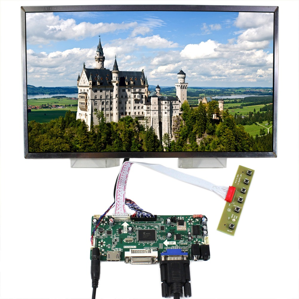 HDMI VGA DVI Audio LCD Controller Board With 14inch LTN140KT01 B140RW01 LP140WD1 1600x900 LCD Screen m nt68676 2a universal hdmi vga dvi audio lcd controller board for 14inch 1600x900 b140rw01 led monitor kit for raspberry pi