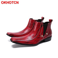 d9c454a05 Red Shoes Chelsea Men Cow Suede Ankle Boots Square Toe Italian Casual Shoes  Elastic Band Slip