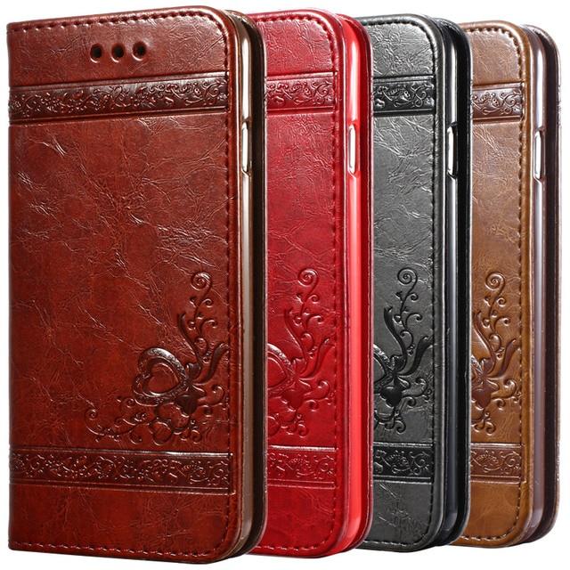 5 5 s 6 s için lüks çevir deri case iphone 6 6 s 7 artı 3d cüzdan coque + silikon arka kapak için iphone 6 6 s plus iphone 7 plus