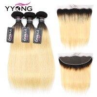 Yyong 1b/613 прямые волосы пучки с фронтальной человеческие волосы переплетения 3 пучка с 13x4 Кружева Фронтальная Закрытие бразильские Remy 4 шт./лот