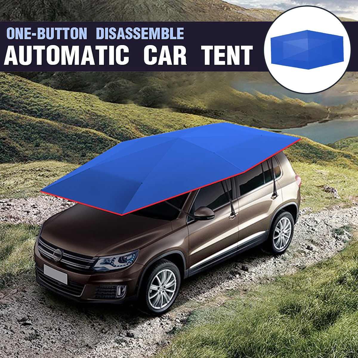 400x210 cm couverture de toit de tente de voiture parapluie Oxford tissu ombre de soleil abri Protection UV extérieure avec télécommande
