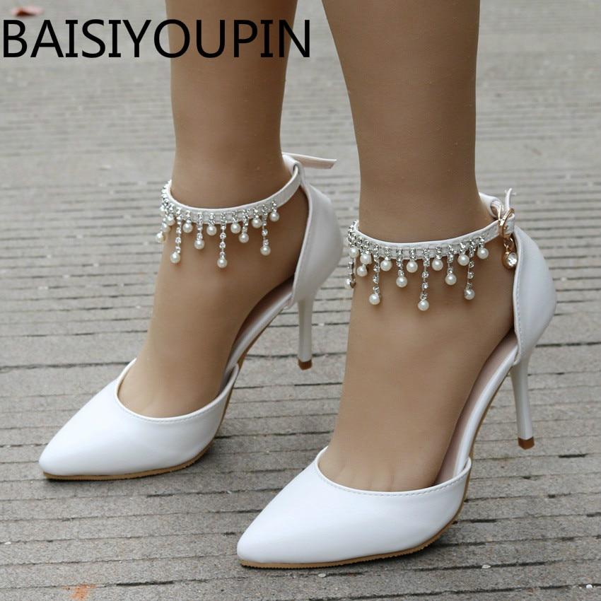 928c19b3b Купить Белые свадебные туфли со стразами и кисточками, Украшенные ...