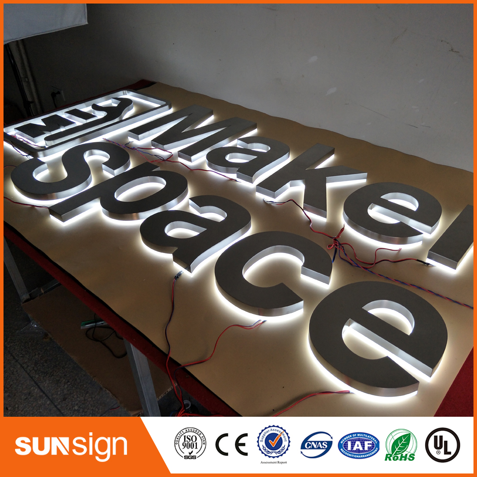Outlet Factory Outdoor Advertising Backlit Stainless Steel Led Letter Signs