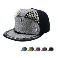 Europe Men Women Punk Silver Rivet Baseball Caps Rhinestone Armor Hip Hop Hats Fashion Street Flare Brim Cap Adjustable 56 60cm
