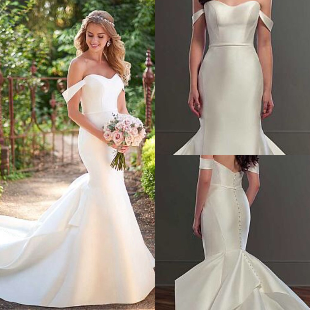Modest Satin Off-the-shoulder Neckline Natural Waistline Mermaid Wedding Dress With Belt Cap Sleeve Button Back Bridal Dress