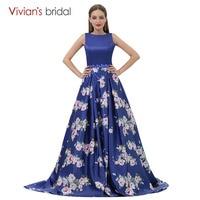 Floral Print Evening Gown A Line Evening Dress Vivian S Bridal Royal Blue Tank Sleeveless Prom