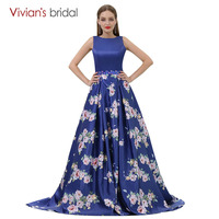 Floral Print Evening Gown A Line Evening Dress Vivian S Bridal Royal Blue Tank Sleeveless Prom