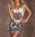2015 печать старинных платье тропический платье desigual для женщин клуб шифона платье без рукавов Vestidos
