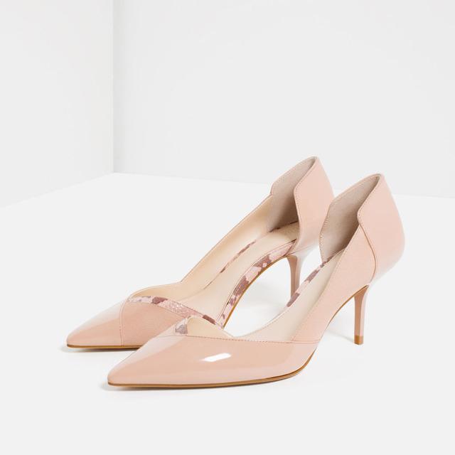 {D & H} Do Escritório Concisa bombas de salto alto Sapatos de Mulher Nuas sapatas Das Senhoras 16 Novo Meados de Calcanhar Mulheres Trabalho sapatos Bombas das Mulheres Rasas