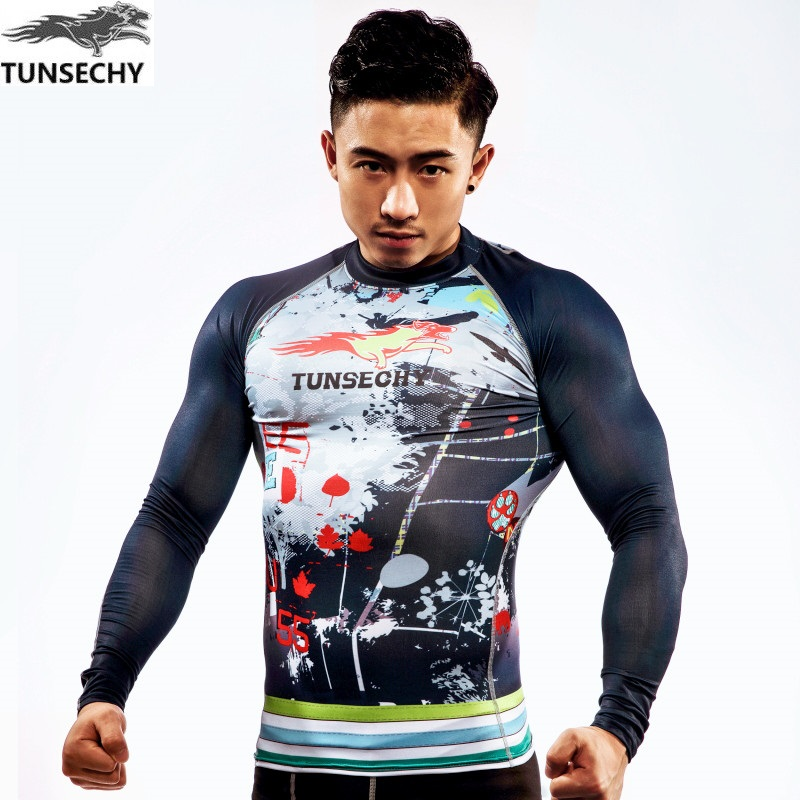 TUNSECHY Brand Men's 3D Digital printing Compression Tights  Bicycle Fitness tees Round collar Long Sleeve Quick-drying T-shirt