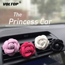 Car-styling Camellia High Flower Car Accessories Female Air Outlet Perfume Clip Dashboard Decoration Interior Ornament