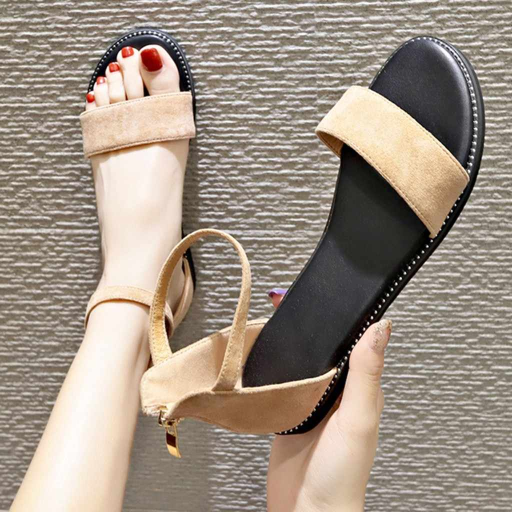 Suede One Word Belt Sandals Women's Flat Bottom Ankle Strap Girls Casual Elegant Summer sandalias Beach Open Toe Rome Zip Shoes