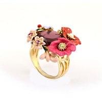 Les Nereides Winter Garden Enamel Glaze Red Flower 18K Gold Pleated Size 7 Women Ring