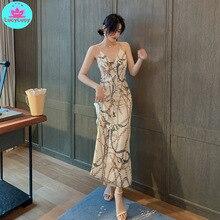 2019 summer new temperament ladies sling pearl split chiffon floral dress Sleeveless  Zippers Knee-Length