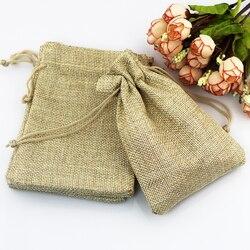 10 pièces 7x9 CM petit sac cadeau en lin couleur naturelle sac de Jute pour le stockage décor de mariage bijoux emballage sacs peut personnaliser Logo