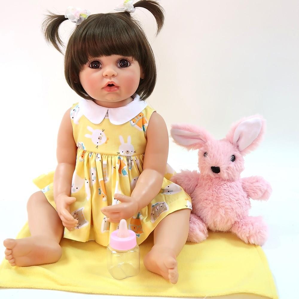 55cm Smooth Silicone Body Girl Reborn Baby Doll Toys Realistic Newborn Babies Fashion Brown Hair Princess Dolls Toy Bebe Gift