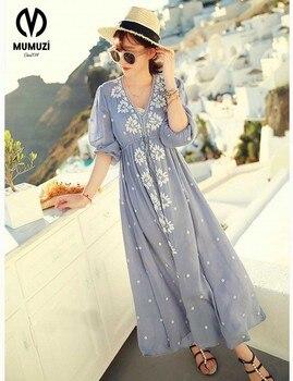 Цветочный boho Белый платья для женщин Осень Винтаж Ретро с длинным рукавом Макси распродажа Хиппи Пляж Этническая синий платье вышивкой