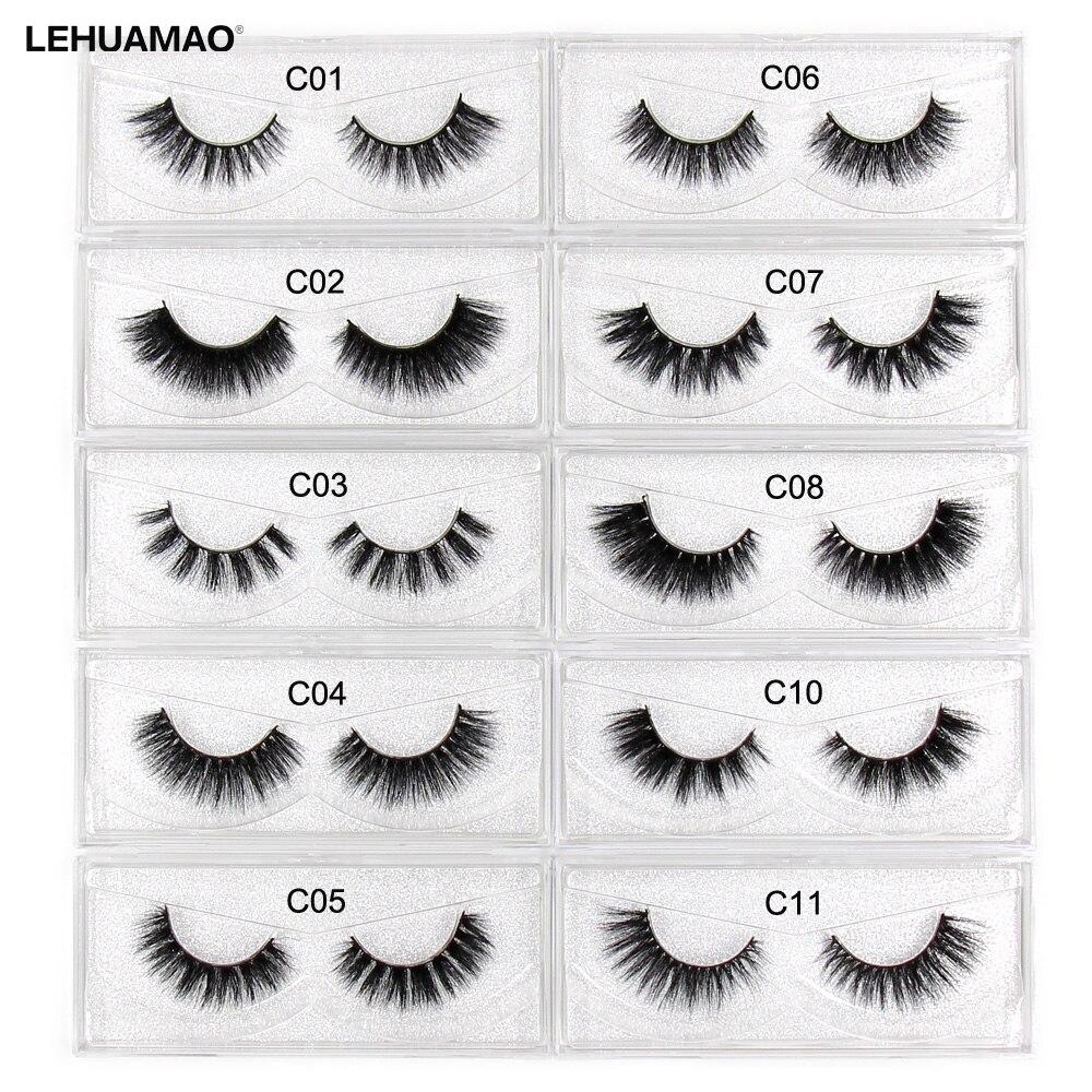 LEHUAMAO Eyelashes 3D Mink Lashes Fluffy Natural Long False Eyelashes Cruelty Free Lashes Dramatic Volume Eyelashes Extension