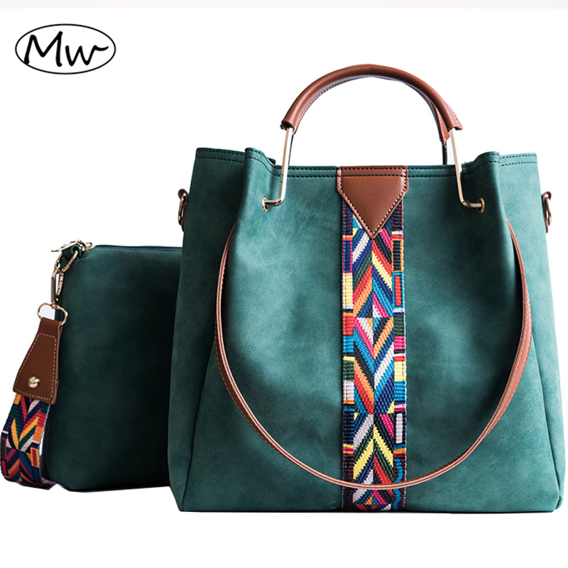 Moon Wood Women Composite Tote Bag Metal Handle Colorful Wide Strap Messenger Bag Women Leather Scrub Shoulder Bag Crossbody Bag