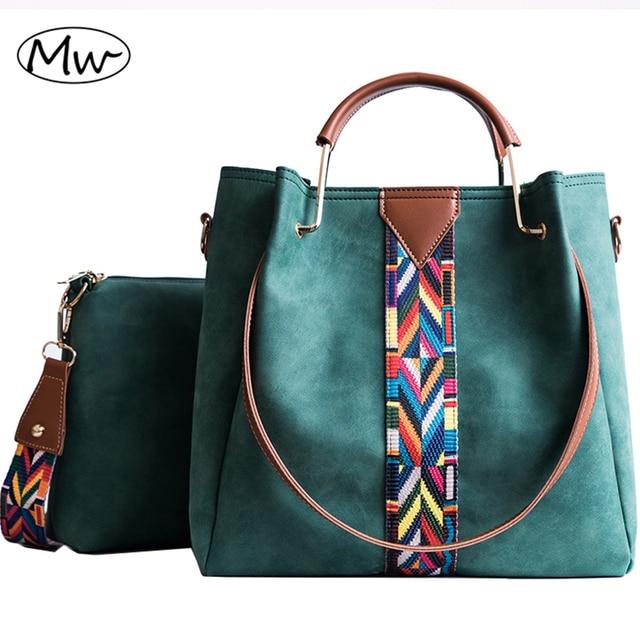 Moon Wood Women Composite Tote Bag Metal Handle Colorful Wide Strap  Messenger Bag Women Leather Scrub 6cc52dfaa25cf