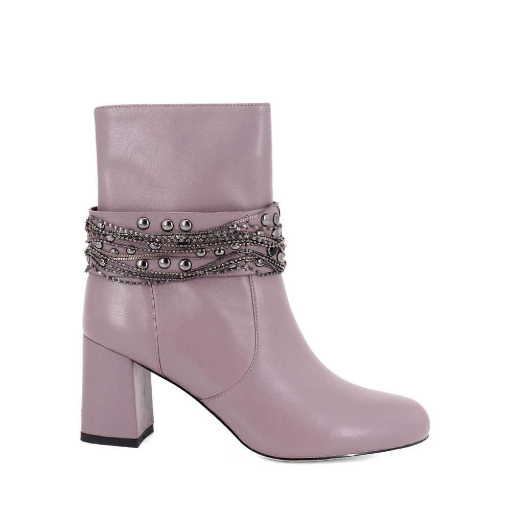 SOPHITINA siyah hakiki deri bileğe kadar bot Metal zincir kare topuklu el yapımı ayakkabı sıcak ofis bayan katı Retro kadın botları B79