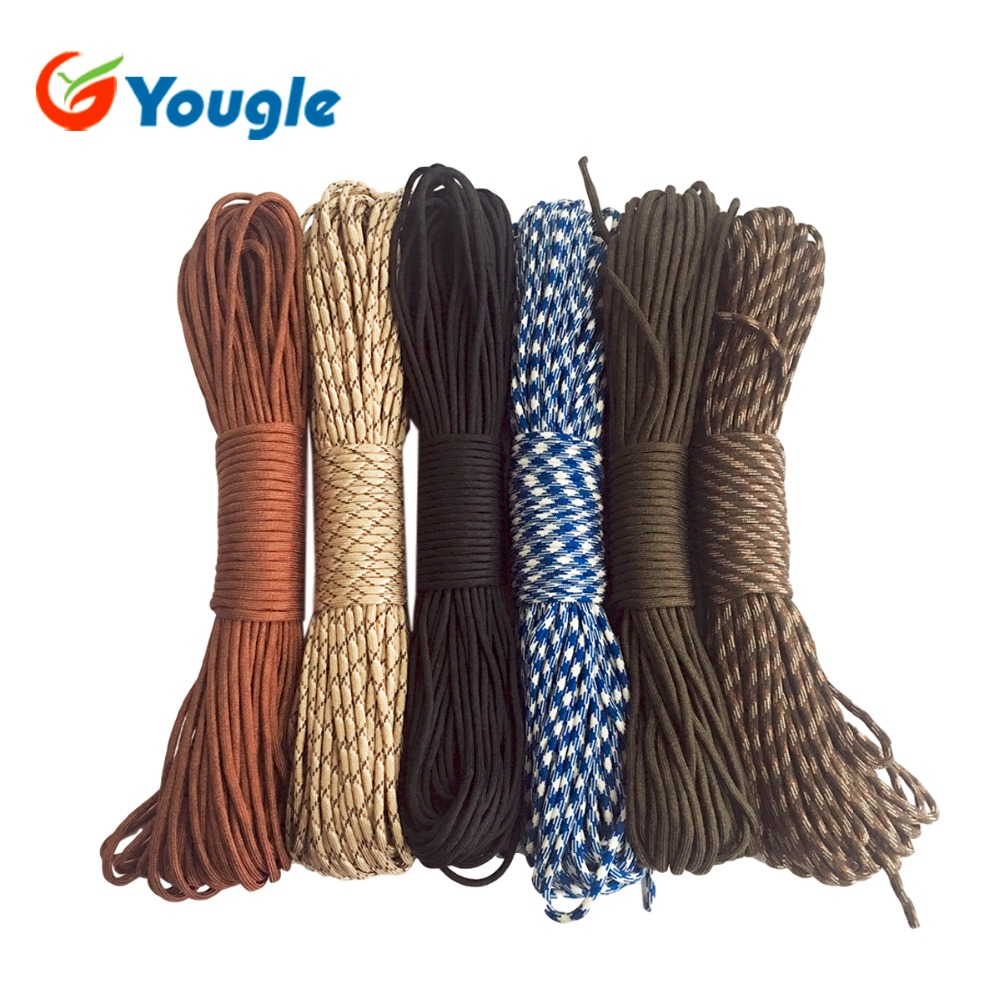 YOUGLE 100% Nylon 9 Core Strand 100FT (31M) Mil Spec Type III Survival 550 Paracord Parachute Cord Survival Kits