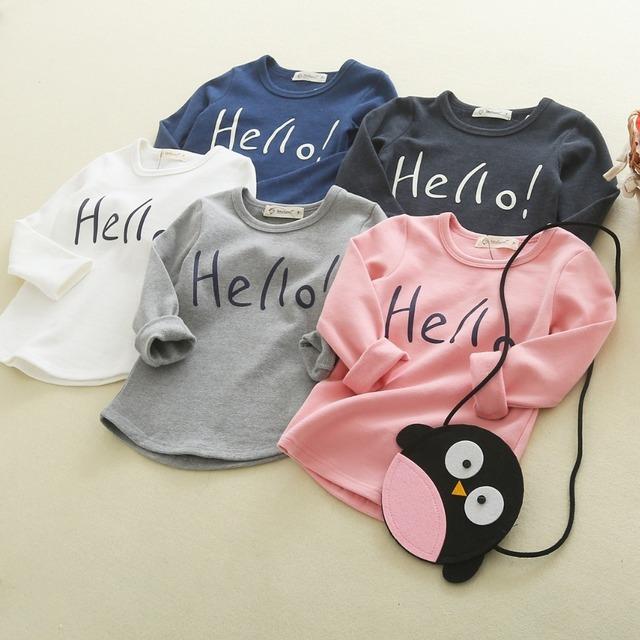 Nova primavera estilo carta bebê meninas olá t-shirt crianças menino de manga longa 100% algodão t-shirt tees crianças outono assentamento roupas