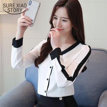 72833981940 Модные женские блузки 2019 женская шифоновая рубашка  Длинные рукава Осень  офисная блузка цветные женские блузы и блузка 1045 40