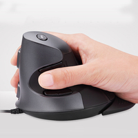 Original Delux M618 Wired Ergonomic Vertical Mouse USB Optical Right Hand Human Engineering Mice for PC Desktop Laptop with Case