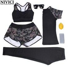 2017 New Sports Yoga Sets Women Sportswear Tights Leggings Quick Dry Sports Bra Elastic Trousers High