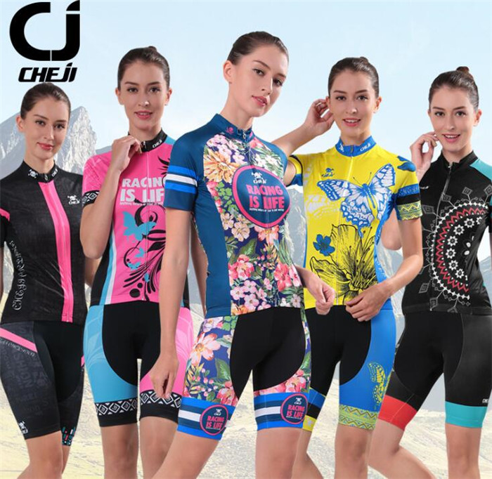 CHE JI Cycling Clothing Women Riding Team Sportswear Bike Set Ropa Ciclismo Mountain Road Bike Bicycle Cycling Jersey Set