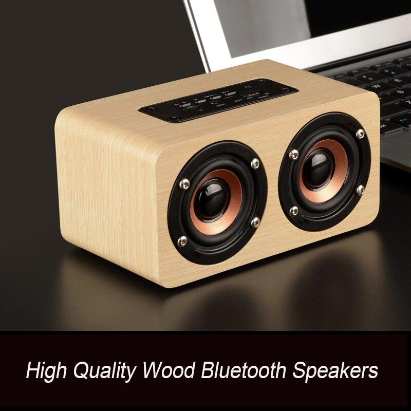Bluetooth Speaker Wooden Wireless Speaker Portable HiFi with TF card Bass Loudspeakers