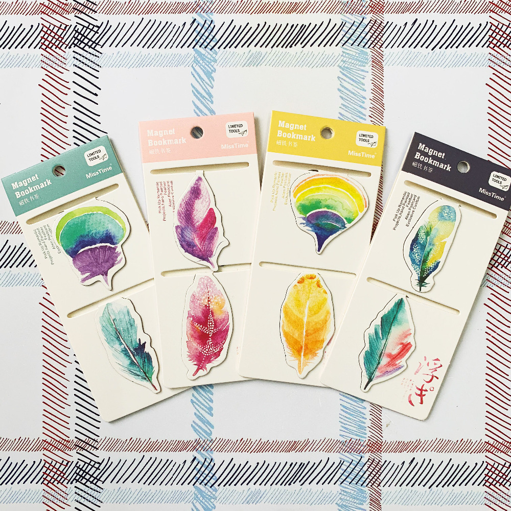2pcs/Set Colourful Feather Magnetic Bookmarks Books Marker Of Page Stationery School Office Supply Student Prize