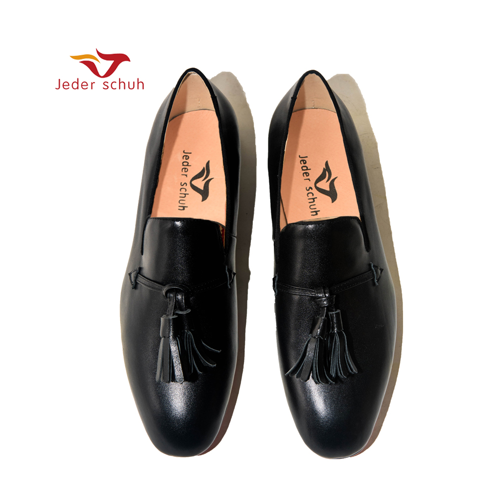 debe18103 Novos De Homens Sapatos Festa Da Couro Mocassins Genuíno E Moda Black  Casamento Shoes Dos Borla Baixos 5r5dfqxA
