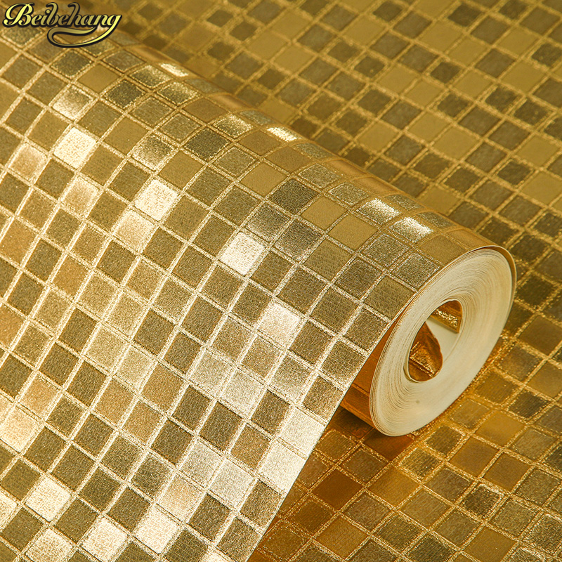 beibehang Mosaic small grid wallpaper for walls Gold foil lattice wall paper roll home decor living room bedroom papel parede 3D beibehang papel de parede 3d luxury glitter wallpaper lattice gram wall paper home decor for living room bedroom papel parede