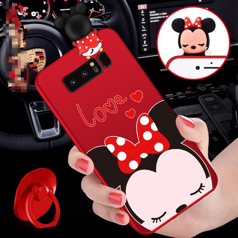 SAM Note 8 3D Mickey Mouse Minnie phone Cases For Samsung Galaxy Note8/Note5/Note4/Note3 Cartoon Soft silicon back cover + Strap
