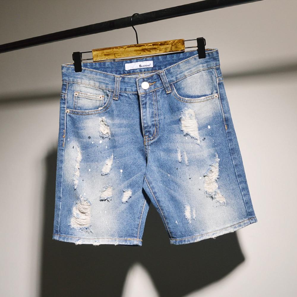 Original Men Denim Jeans Shorts Painted Hole Ripped Knee Length ...