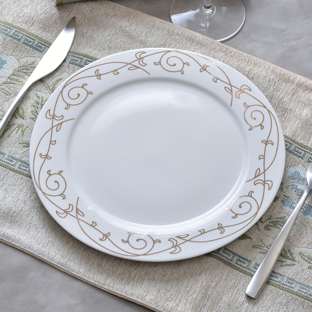 1PC White Gold Flower Ceramic Dishes Disc European 10inch Large Pasta Steak Dessert Plates Fine Bone & 1PC White Gold Flower Ceramic Dishes Disc European 10inch Large ...