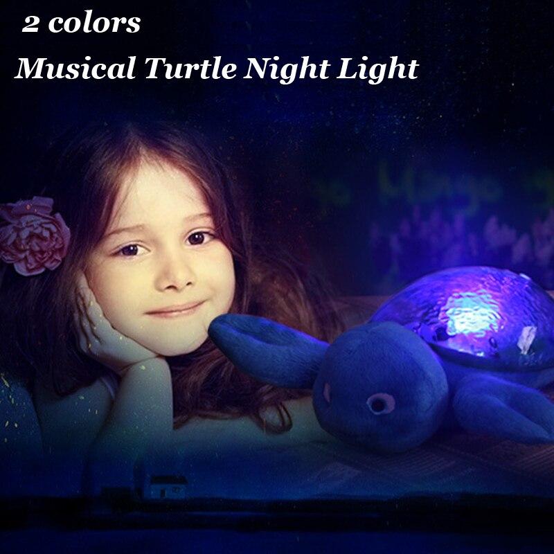 2 Renkler Musical Kaplumbağa Gece Lambası Gökyüzü Yıldız Projeksiyon Lambası LED Uyku Nightlight Çocuk Oyuncak Bebek Odası Dekorasyon 2016 Yeni