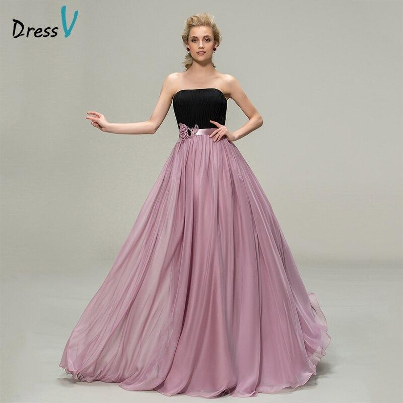 Dressv платье подружки невесты Line без бретелек рукавов цветы пояса ленты пользовательские Свадебная вечеринка платье для выпускного вечера п
