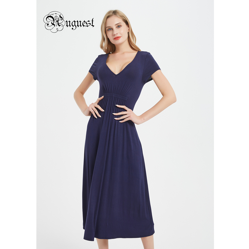 Uguest Women Spring Summer Long Dress Blue Casual Dresses For V Neck Evening Party  Elegant