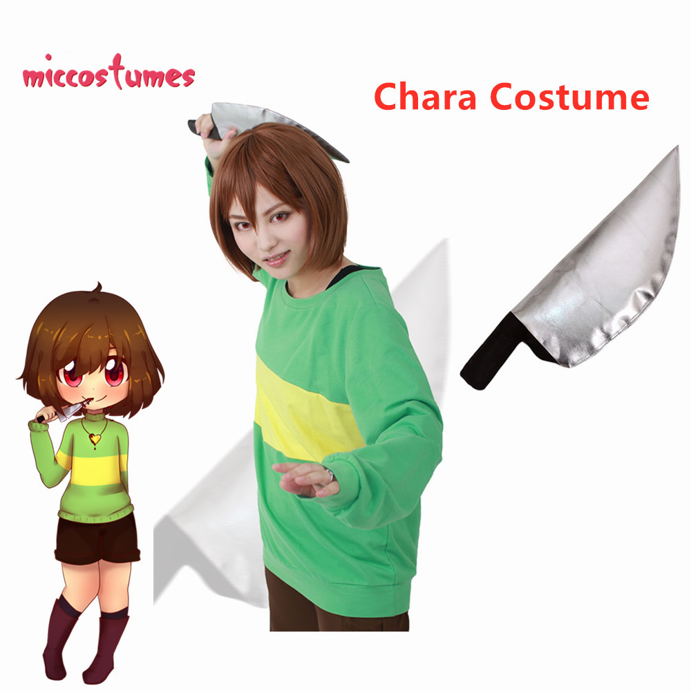 Chara Cosplay Costume (knife Included)  Green Pullover Top