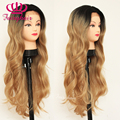Blonde ombre lace front synthetic wig body wave hair heat resistant synthetic lace front wig blonde lace wig for black women