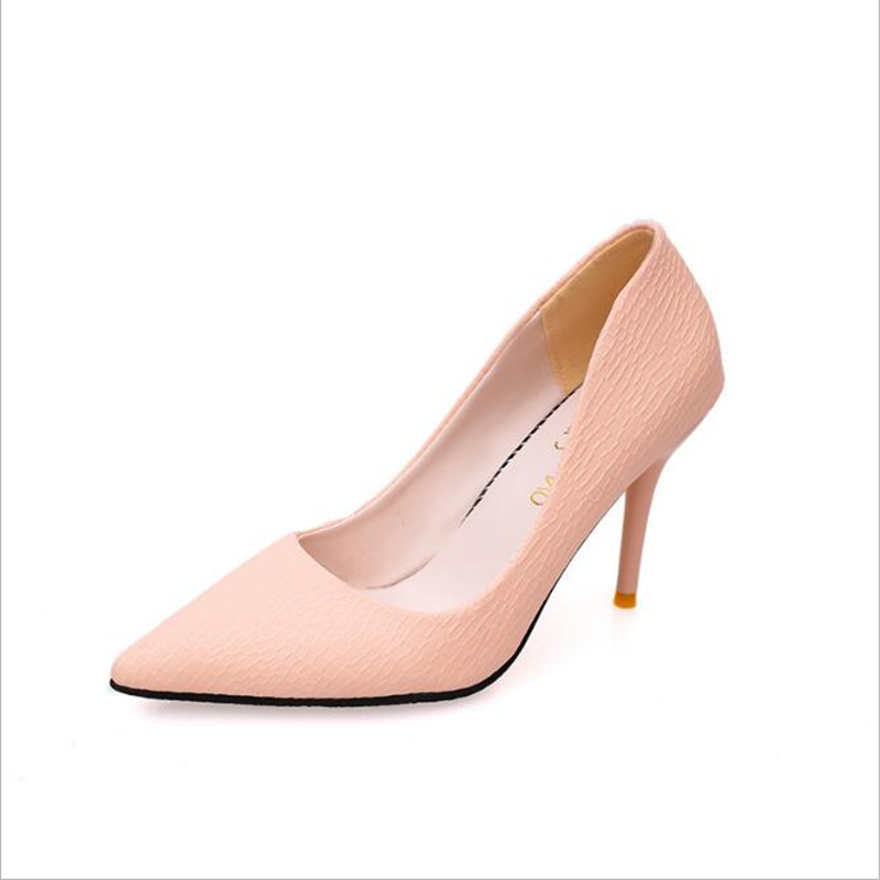 2017 Pink women s Pointed high heeled Shoes pumps for lady girls shoes Shallow Mouth Fashion
